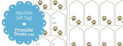 printable dog gift tags printable paw print gift tags printable treats com