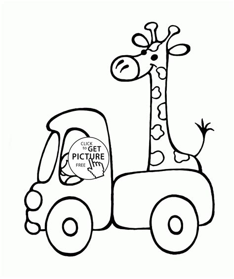 Giraffe Coloring Page Printable by Small Truck With Giraffe Coloring Page For Preschoolers
