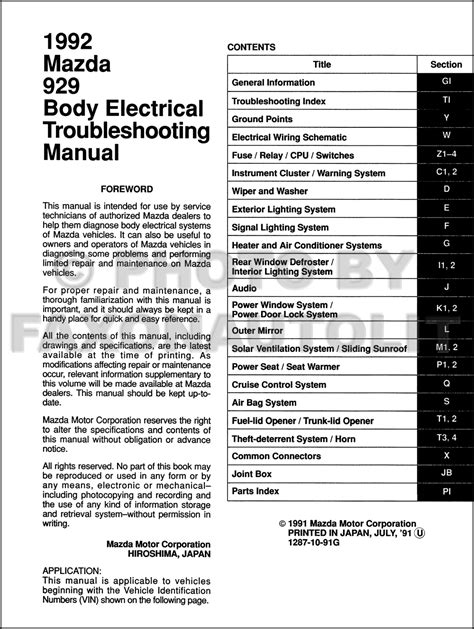 online repair manual for a 1992 mazda 929 mazda 929 1983 1984 1985 1986 2 0i workshop manual 1992 mazda 929 body electrical troubleshooting manual original