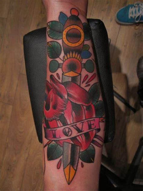 tattoo old school dagger arm old school heart dagger tattoo by marked for life