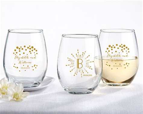 Wedding Favors Stemless Wine Glasses by Personalized Milestone Gold 9 Oz Stemless Wine Glass My