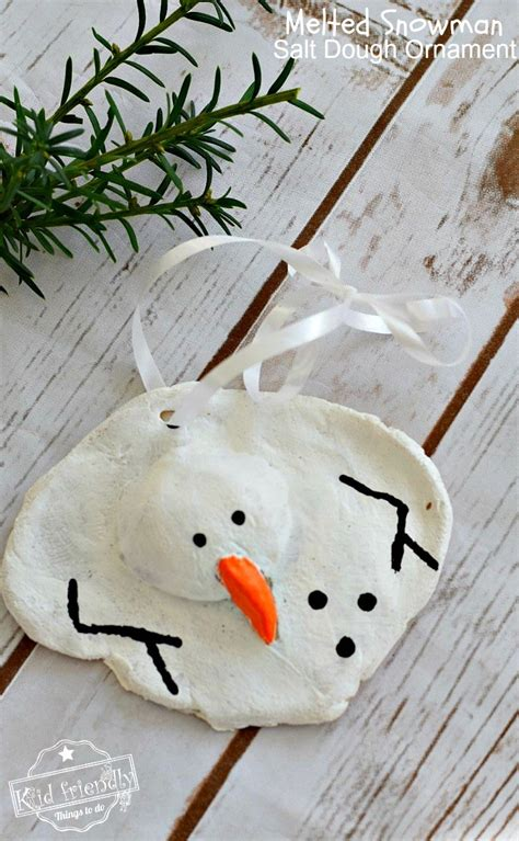 a diy melted snowman and candy cane salt dough ornament