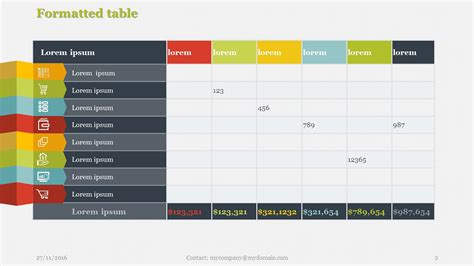 table layout and presentation in html creative tables pack 1 powerpoint presentation templates