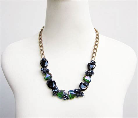 how to make fashion jewelry green black glass fashion statement necklace by