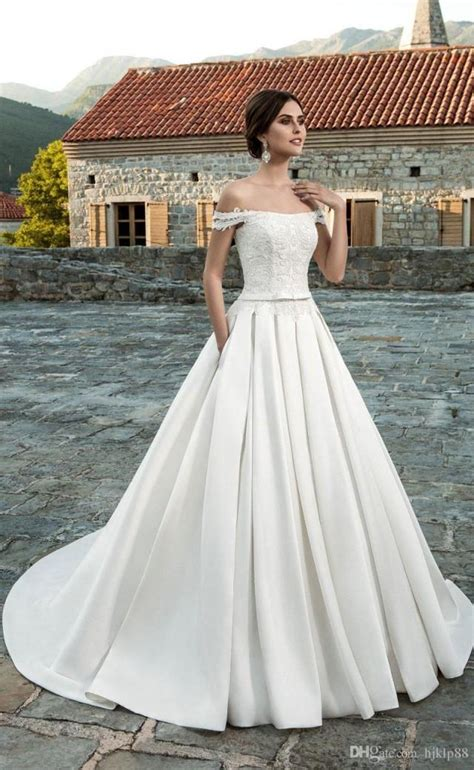 Satin Wedding Dresses by New Arrival A Line Shoulder Lace Wedding Dresses Satin