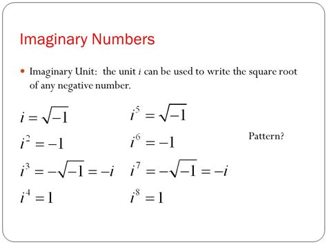 pattern imaginary numbers chapter 2 section 4 complex numbers ppt video online