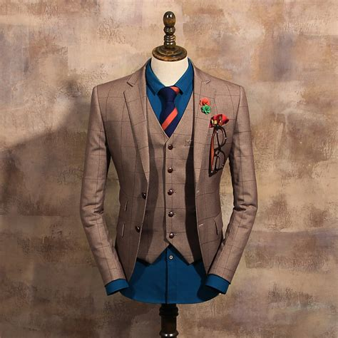 new fashion vintage coffee single button suits s