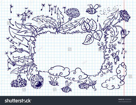 doodle version landscape summer frame doodle version stock vector