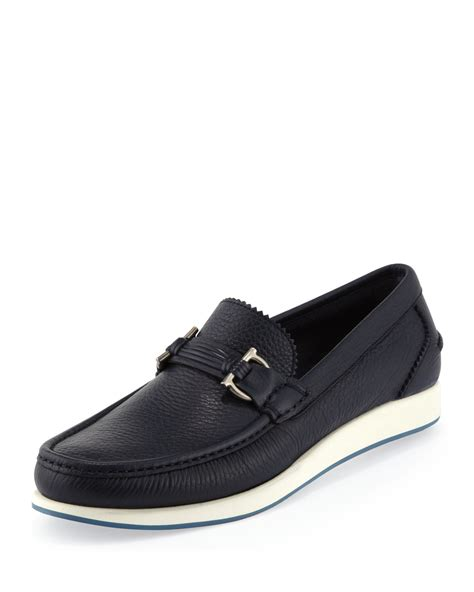 rubber sole loafers ferragamo rieti gancini rubber sole loafers in blue for