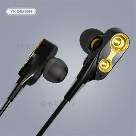 yk  double moving coil stereo mm  ear earphone wired headset  mic black gold