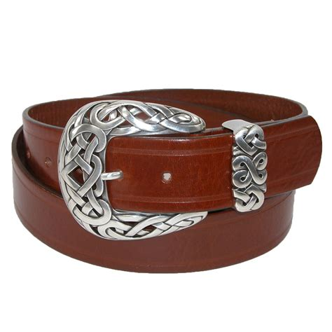 womens italian leather belt with celtic knot buckle by