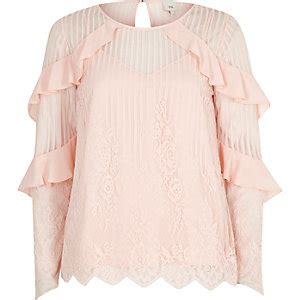 light pink long sleeve top blouses women tops river island