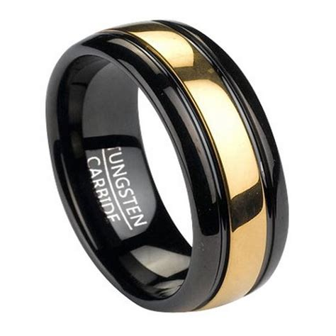 8mm s black tungsten ring w gold tone inlay