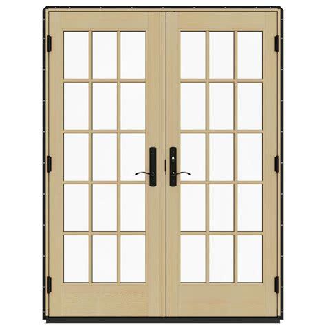 Jeld Wen Patio Doors Jeld Wen 60 In X 80 In W 4500 Black Prehung Left Inswing Patio Door With