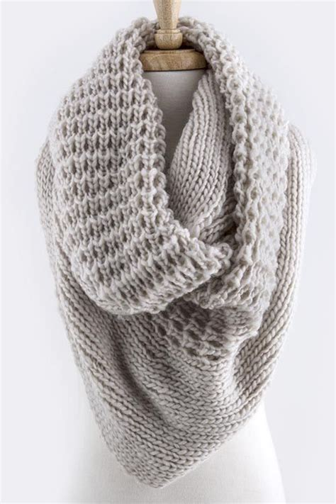 Oversized Knit Infinity Scarf Beautiful Fall And Grey On