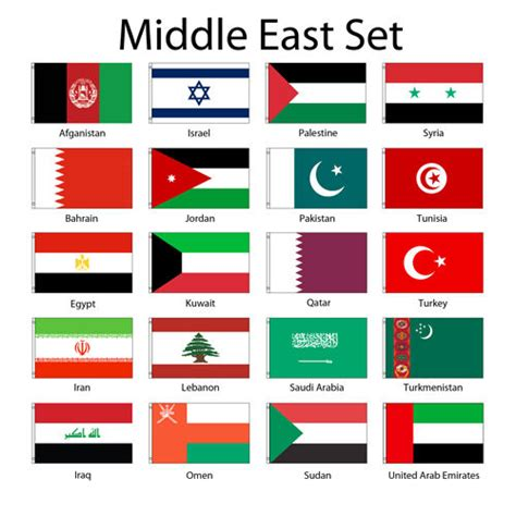 flags of the world middle east middle eastern 3x5 flag set of 20 country lightweight