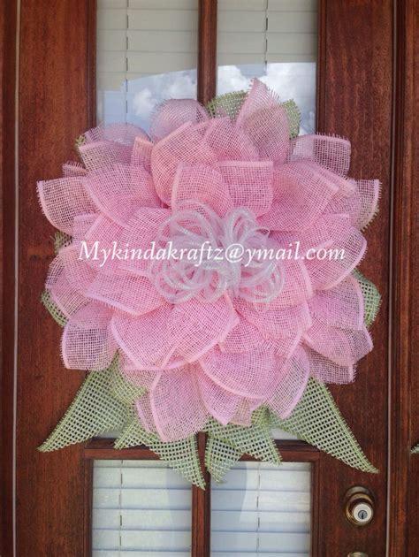 22000 Pink Flower Mesh pink paper mesh flower wreath wreath mykindakraftz pink wreaths and