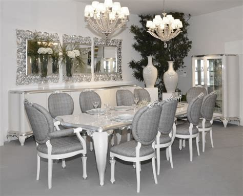 Silver Dining Room Chairs | glossy white and silver leaf dining armchair with