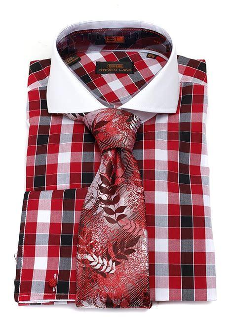 steveland ties bow steven land red checkered dress shirt