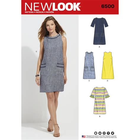 boat neck dress pattern uk new look 6500 misses dress with neckline sleeve and
