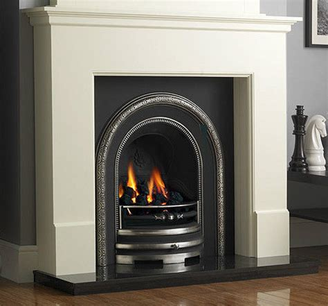 gas cast iron black granite white surround coal