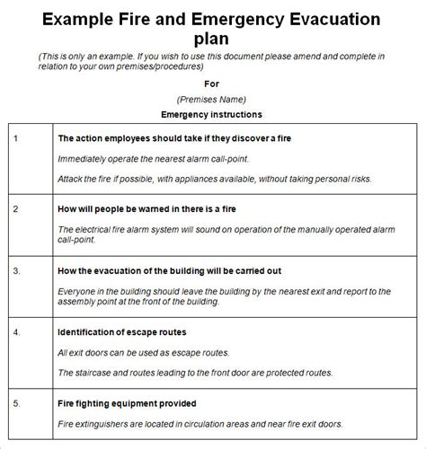 emergency evacuation plan template 10 free word pdf