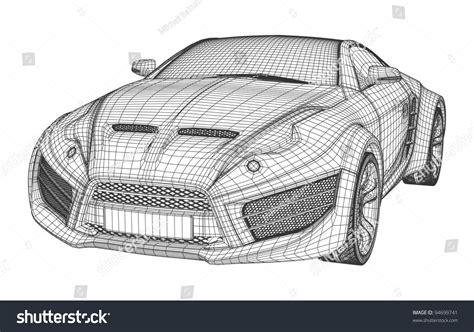 design blueprints sports car blueprint non branded concept stock vector