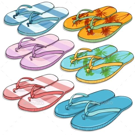cartoon house shoes vector set of cartoon beach slippers by nikiteev graphicriver