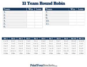5 team robin template 11 team robin printable tournament bracket