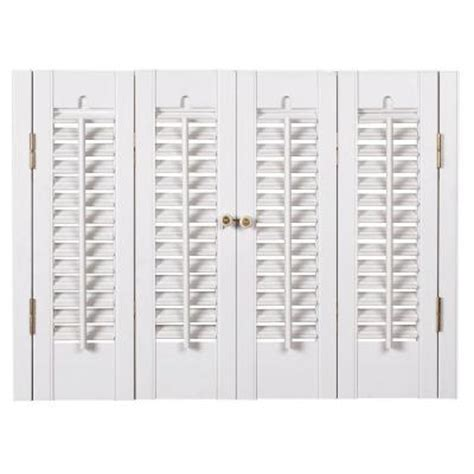 Homebasics Traditional Faux Wood White Interior Shutter Home Depot Window Shutters Interior