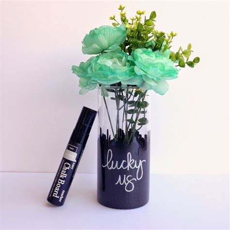 srm stickers chalkboard quot lucky us quot vase by tessa