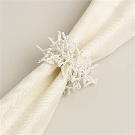 beaded serviette rings antique white beaded napkin rings set of 6 world market