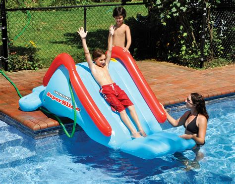kids backyard pool swimline 90809 swimming pool backyard poolside super slide