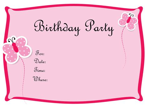 free birthday invites templates blank birthday invitations template free