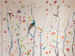 Cherry Blossom Wall Mural hand painted wallpaper voutsa