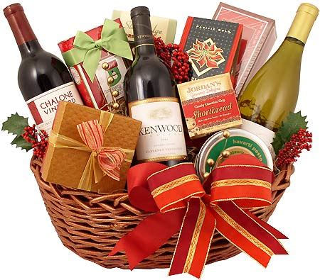 christmas time and wine gift basket