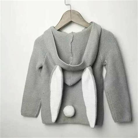 Sweater Rabbits children s clothing knitted sweater rabbit ear hooded sweaters bunny motif cloth ebay