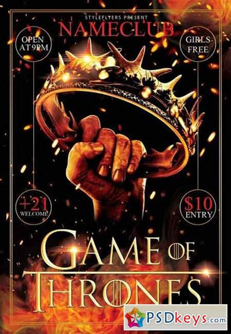 Game Of Thrones Party Psd Flyer Template Facebook Cover 187 Free Download Photoshop Vector Stock Of Thrones Photoshop Template