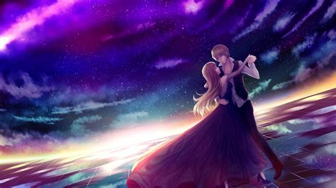 wallpaper anime romance android download 1920x1080 anime couple dancing stars sky