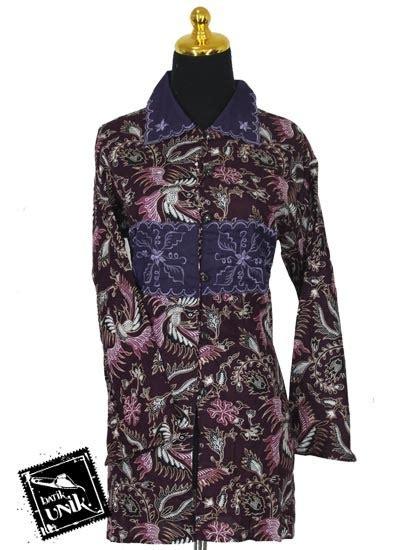 kerah tempel baju baju batik sarimbit blus motif peksi bondet blus panjang
