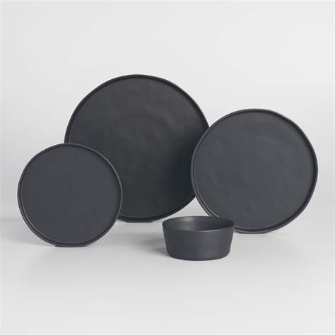 moderne geschirr sets black organic dinnerware world market