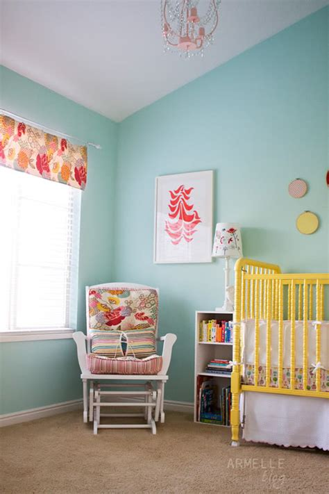 yellow aqua baby nursery design dazzle