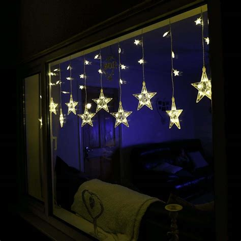 indoor curtain lights indoor star curtain light 75 leds 1 8m