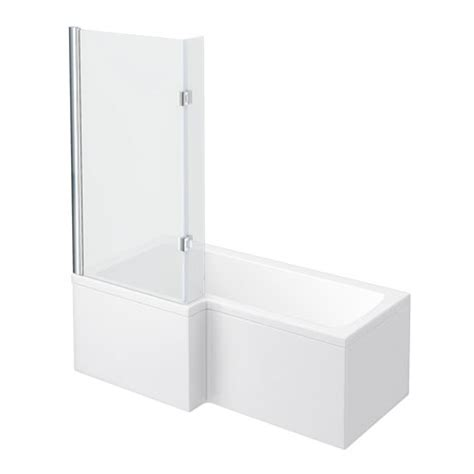 l shaped shower bath with hinged screen milan shower bath 1700mm l shaped with hinged screen panel at plumbing uk