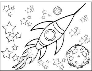 coloring pages outer space free rocketship and planet coloring page