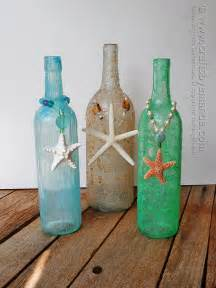 Wine Bottle Crafts Textured Beach Wine Bottles