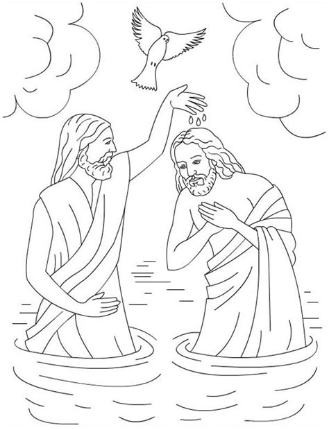 free coloring pages of jesus is baptized