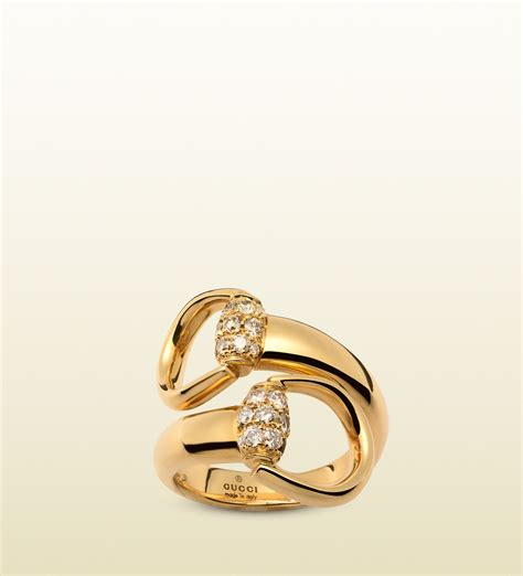 gucci gold horsebit ring with brown diamonds in gold lyst