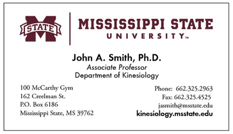 business card template for college students office of affairs mississippi state