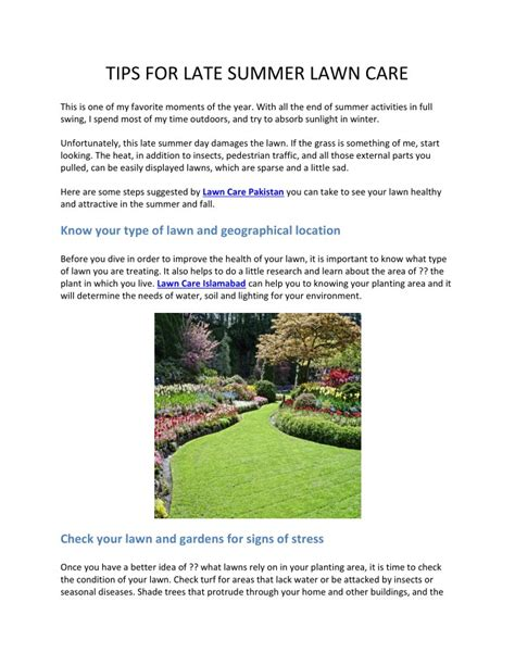 summer lawn care tips ppt tips for late summer lawn care powerpoint